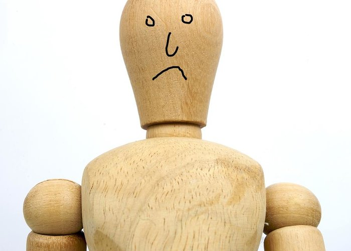 Back Greeting Card featuring the photograph Sadness Wooden Figurine by Bernard Jaubert