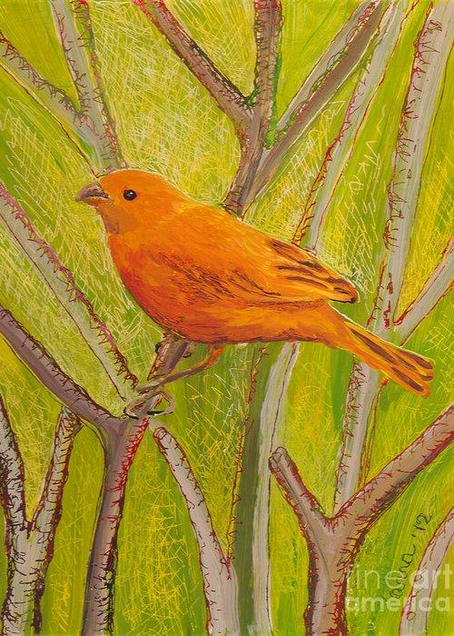 Hawaii Birds Greeting Card featuring the painting Saffron Finch by Anna Skaradzinska