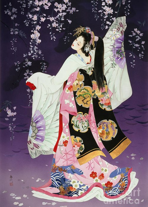 Haruyo Morita Greeting Card featuring the digital art Sagi No Mai by Haruyo Morita