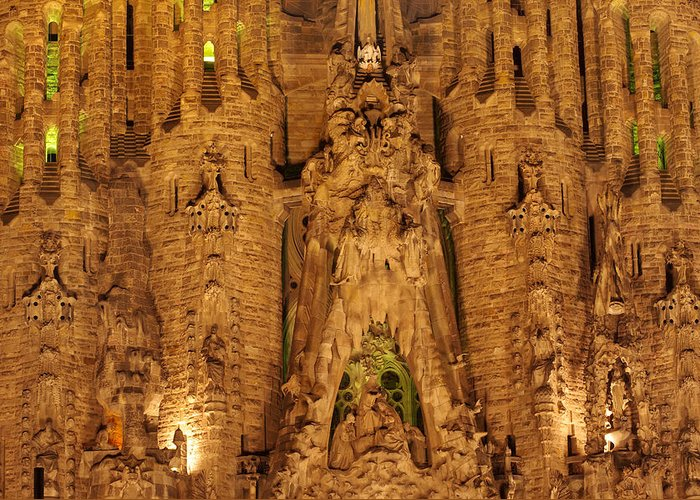 Architecture Greeting Card featuring the photograph Sagrada Familia by Ioan Panaite