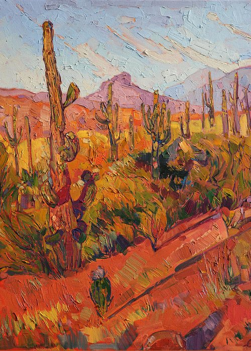 Prescott Arizona Greeting Card featuring the painting Saguaro Gathering by Erin Hanson