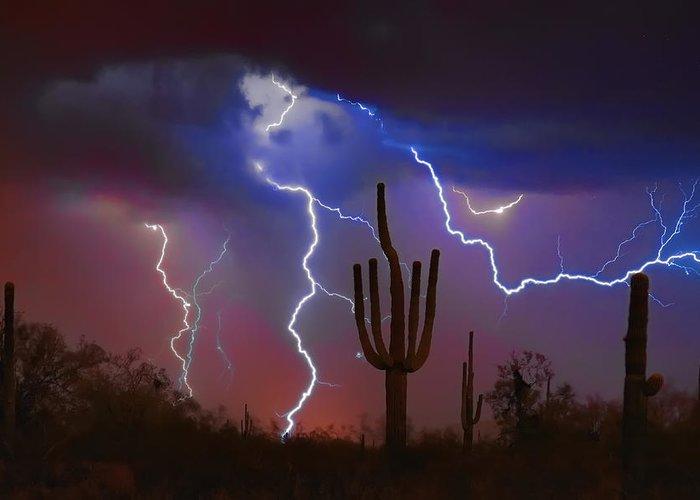 Saguaro Greeting Card featuring the photograph Saguaro Lightning Nature Fine Art Photograph by James BO Insogna