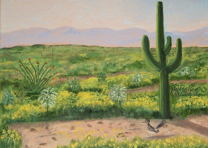 Saguaro Monument Greeting Card featuring the painting Saguaro Monument by Rich Civiok