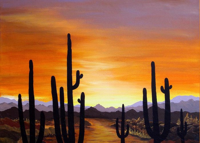 Acrylic Greeting Card featuring the painting Saguaro Sunset by Carol Sabo