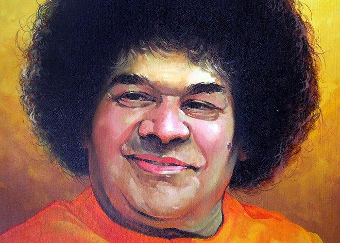 Sai baba greeting card for sale by sundarakannan srinivasan putabarthi greeting card featuring the painting sai baba by sundarakannan srinivasan m4hsunfo