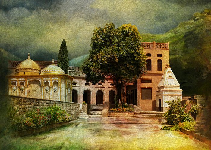 Pakistan Greeting Card featuring the painting Saidpur Village by Catf