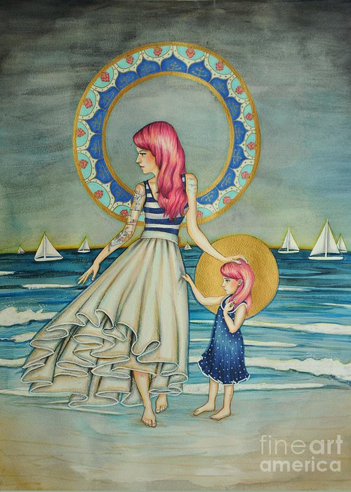 Skirt Greeting Card featuring the drawing Sail Away by Lucy Stephens