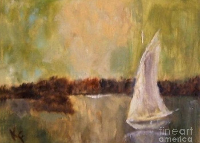 Sailboat Greeting Card featuring the painting Sail Away With Me by Kathleen Farmer