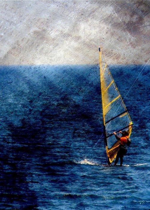 Lake Michigan Greeting Card featuring the digital art Sailboarding W Metal by Anita Burgermeister
