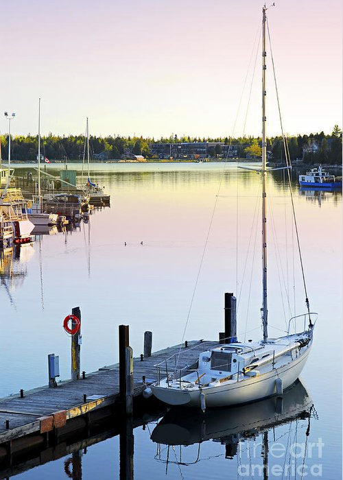 Sailboats Docked Photographs Greeting Cards