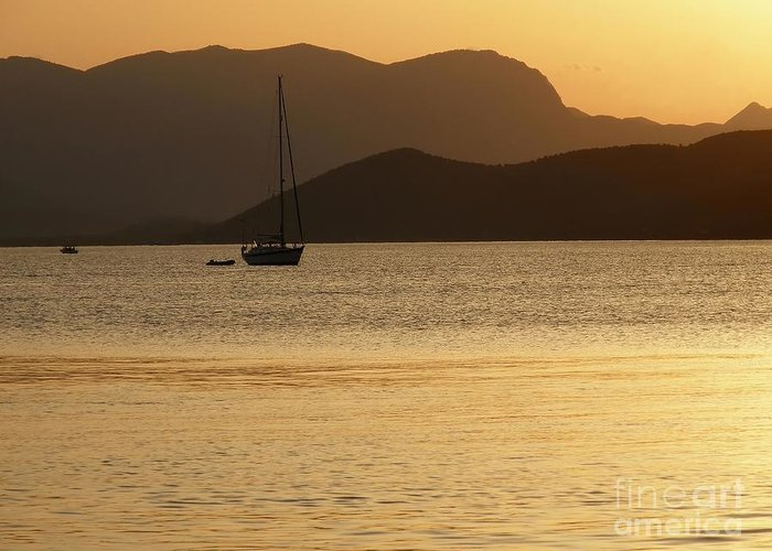 Sunset Greeting Card featuring the photograph Sailboat At Sunset by Sophie Vigneault