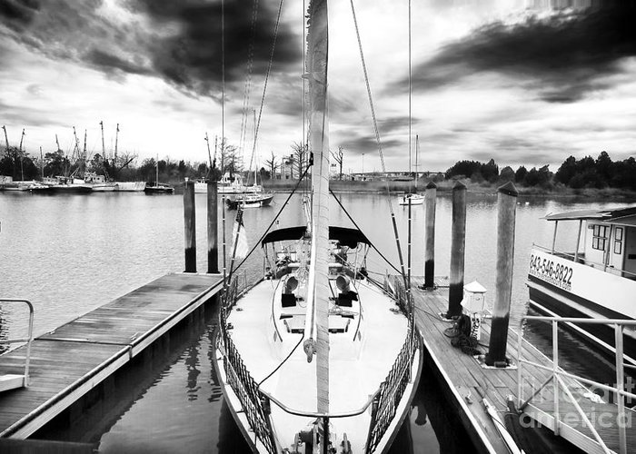 Sailboat Docked Greeting Card featuring the photograph Sailboat Docked by John Rizzuto
