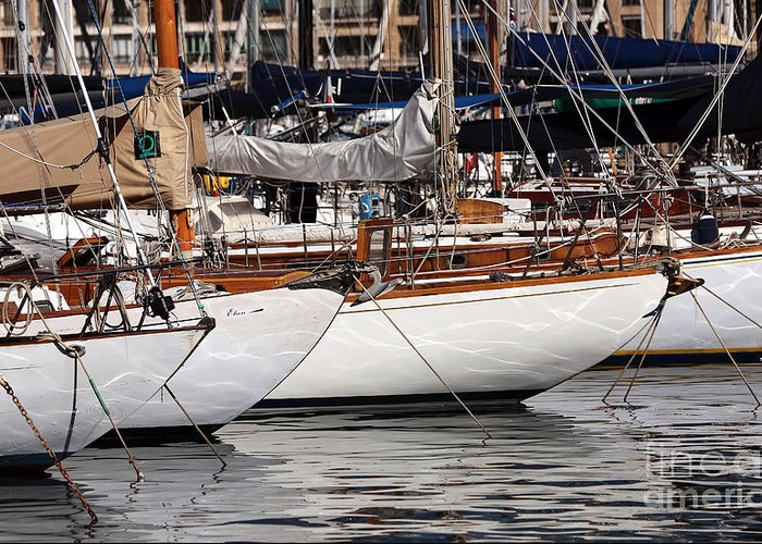 Sailboat Hulls In The Port Greeting Card featuring the photograph Sailboat Hulls In The Port by John Rizzuto