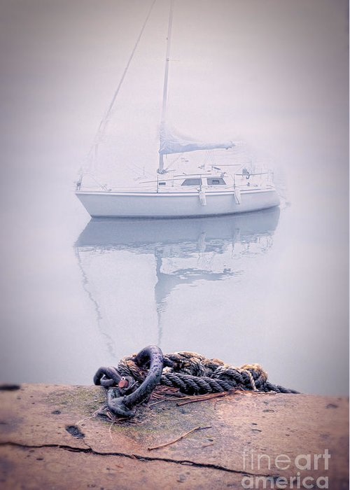Boat Greeting Card featuring the photograph Sailboat In Fog by Jill Battaglia