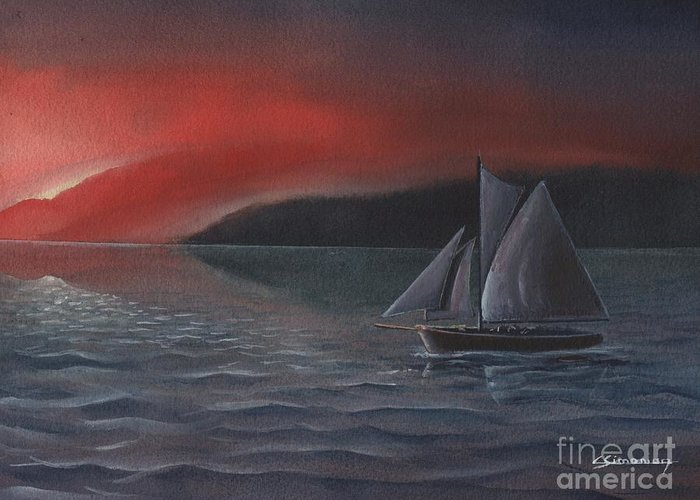 Silboat Greeting Card featuring the painting Sailboat In Sunset by Christian Simonian