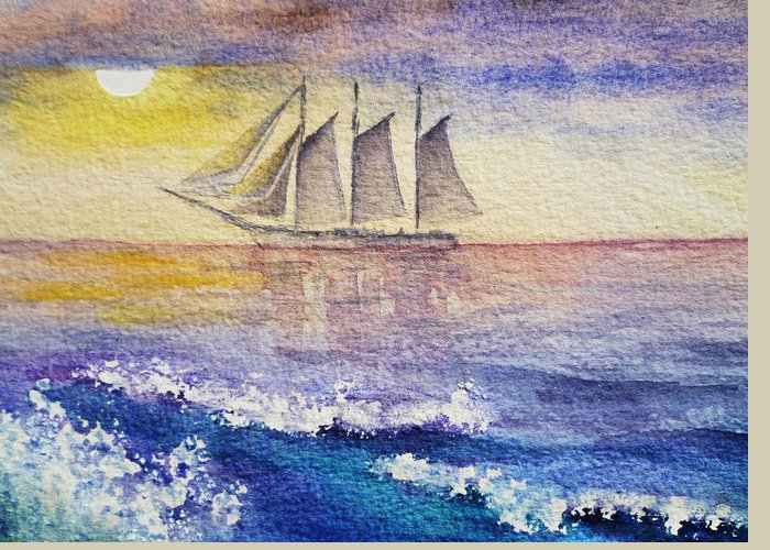 Sailboat Greeting Card featuring the painting Sailboat In The Ocean by Irina Sztukowski