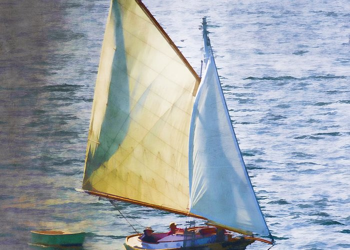 Sailboat Greeting Card featuring the photograph Sailboat Off Marthas Vineyard Massachusetts by Carol Leigh