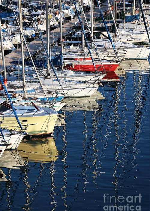 Sailboat Reflections Greeting Card featuring the photograph Sailboat Reflections by John Rizzuto