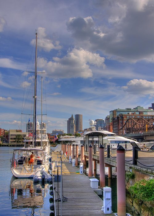 Boston Greeting Card featuring the photograph Sailboats In Constitution Marina - Boston by Joann Vitali