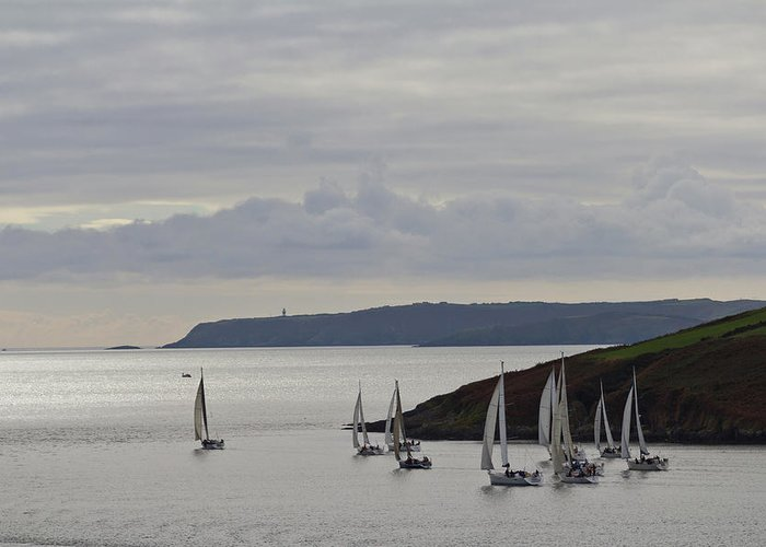 Sailboat Greeting Card featuring the photograph Sailboats Race Out Of Kinsale Harbour by Eric Sturdivant