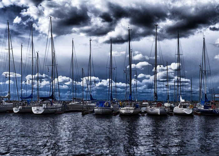Blue Greeting Card featuring the photograph Sailboats by Stelios Kleanthous