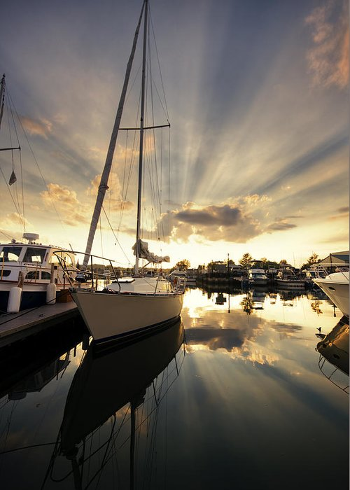 Sailboat Greeting Card featuring the photograph Sailed In by Alexey Stiop