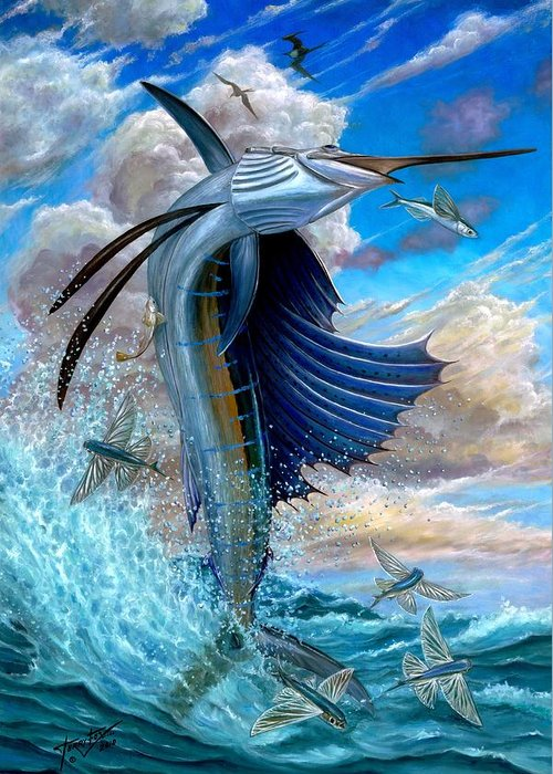 Sailfish Greeting Card featuring the painting Sailfish And Flying Fish by Terry Fox
