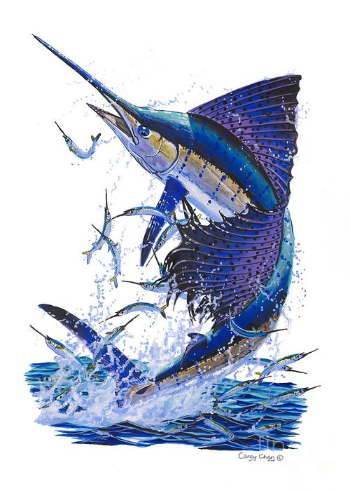 Sailfish Greeting Card featuring the painting Sailfish by Carey Chen