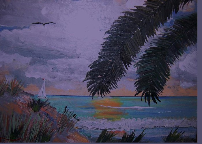 Beach Greeting Card featuring the painting Sailing Along The Shore by David Earl Tucker