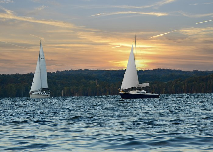 Water Greeting Card featuring the photograph Sailing At Sunset by Steven Michael