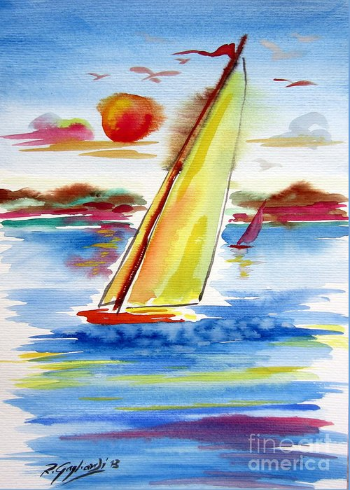 Sails Greeting Card featuring the painting Sailing Away by Roberto Gagliardi