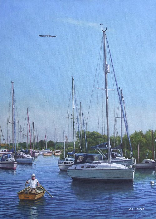 Christchurch Greeting Card featuring the painting Sailing Boats At Christchurch Harbour by Martin Davey