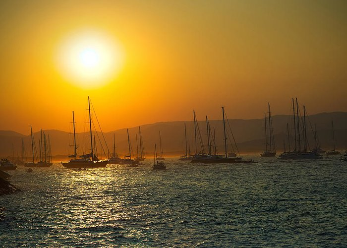 Active Greeting Card featuring the photograph Sailing Boats On Sea At Sunset by Ioan Panaite