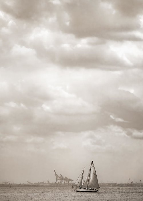 Sailing Greeting Card featuring the photograph Sailing In New York Harbor - Nautical by Gary Heller