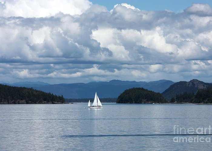 Nautical Greeting Card featuring the photograph Sailing In The San Juans by Carol Groenen