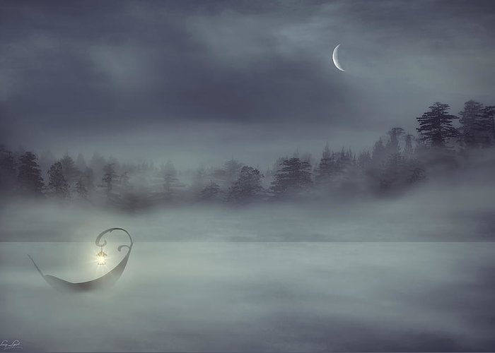 Boat In The Fog Greeting Card featuring the digital art Sailing Odyssey by Lourry Legarde