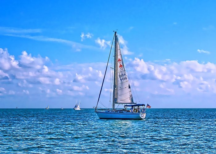 Yacht Greeting Card featuring the photograph Sailing Off Of Key Largo by Chris Thaxter