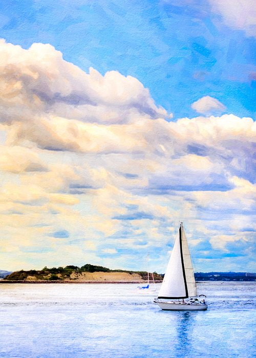 Boston Harbor Greeting Card featuring the photograph Sailing On A Beautiful Day In Boston Harbor by Mark E Tisdale
