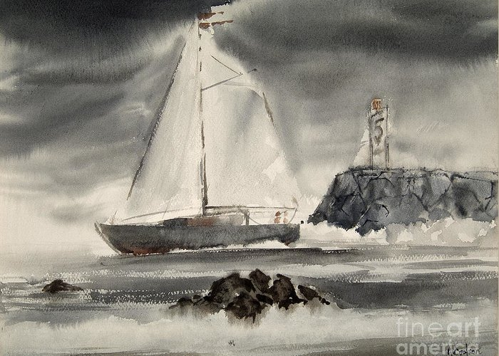 Watercolor Greeting Card featuring the painting Sailing On A Grey Day by Anthony Coulson