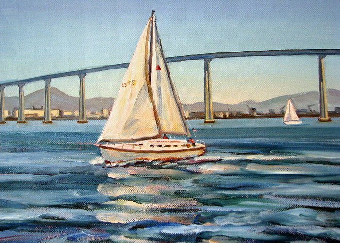 Sailing On San Diego Bay Greeting Card For Sale By Robert