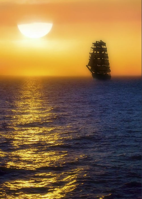 Sailing Ship Greeting Card featuring the photograph Sailing Out Of The Fog At Sunrise by Jason Politte