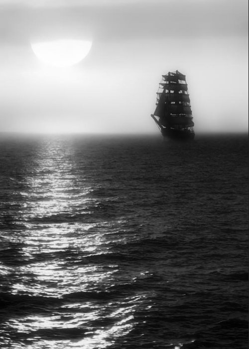 Sailing Ship Greeting Card featuring the photograph Sailing Out Of The Fog - Black And White by Jason Politte