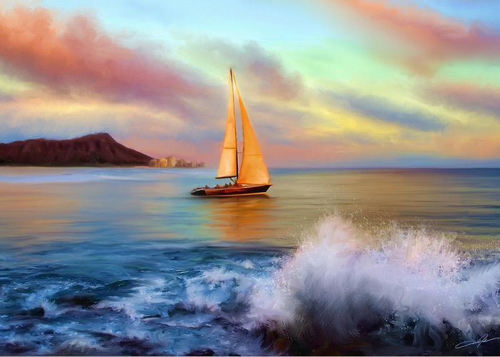 Waikiki Greeting Card featuring the digital art Sailing Past Waikiki by Dale Jackson