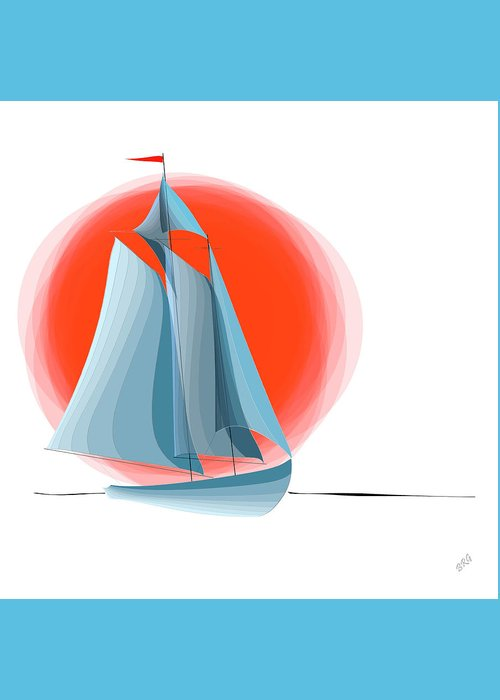 Yachting Greeting Card featuring the digital art Sailing Red Sun by Ben and Raisa Gertsberg