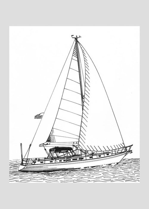 Ink Drawings By Jack Pumphrey Of Yacht Greeting Card featuring the photograph Sailing Sailing Sailing by Jack Pumphrey