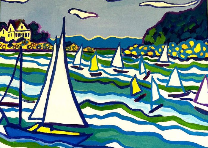 Landscape Greeting Card featuring the painting Sailing School Manchester by-the-sea by Debra Bretton Robinson
