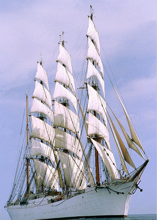 Boat; Outdoors; Outside; Sail; Sailing Ship; Sails; Ship; Vessel; Water; Waterway & Maritime Transport Greeting Card featuring the photograph Sailing Ship by Anonymous