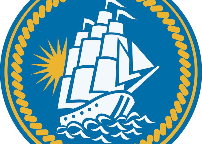 Sailing Greeting Card featuring the digital art Sailing Tall Ship Galleon Retro by Aloysius Patrimonio
