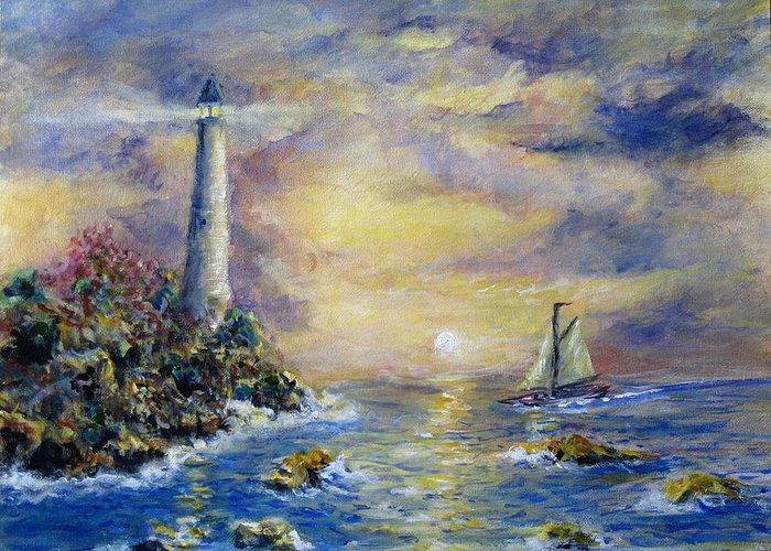 Seascape Greeting Card featuring the painting Sailing The Slot by Thomas Restifo