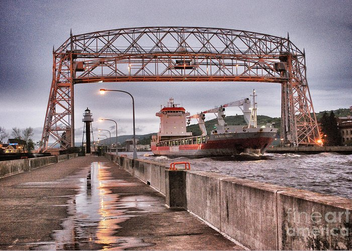 Aerial Lift Bridge Greeting Card featuring the photograph Sailing Through The Duluth Aerial Lift Bridge by Ever-Curious Geek